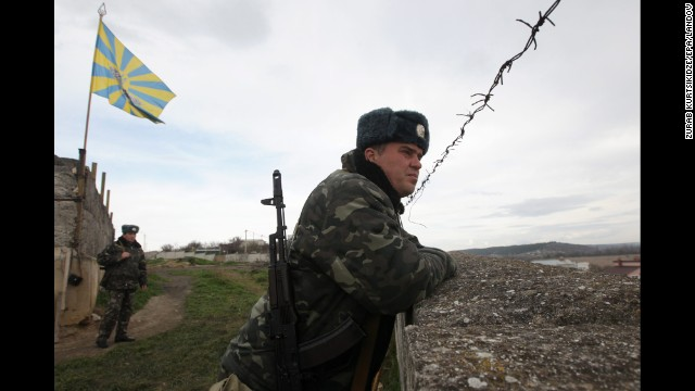 Ukrainian troops guard the Belbek air base outside Sevastopol, Ukraine, on March 6.
