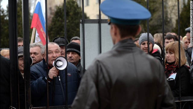Pro-Russia protesters demonstrate outside the Belbek Air Base outside Sevastopol, Ukraine, on Thursday, March 6.