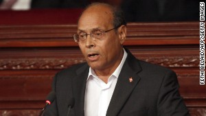 Outgoing Tunisian President Moncef Marzouki