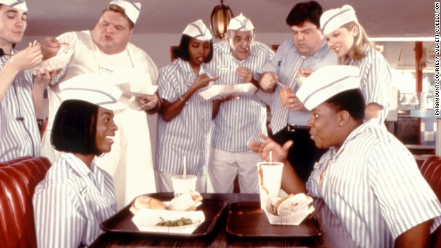 "<strong>""Good Burger"" (1997</strong><strong>):</strong> Kel Mitchell, Abe Vigoda (center) and Kenan Thompson star in this fan favorite."