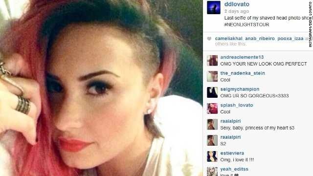 "Demi Lovato is now just three-quarters away from having a completely shaved head. The singer revealed March 5 that she had shaved off a section of her hair, leaving a punk strip right near the front. Along with the new look came an uptick in selfies from Lovato: ""Sorry guys I can't stop taking selfies cause I'm UHHHBESSED with my new hair!"" she posted on Instagram."