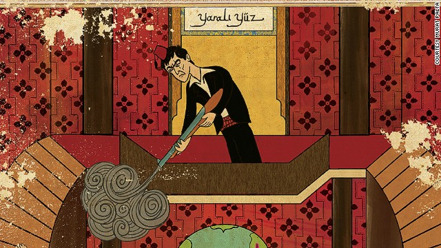 Turkish artist Murat Palta paints Al Pacino's Scarface in a fez.