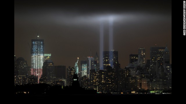 "The annual ""Tribute in Light"" memorial echoes the twin towers of the World Trade Center on September 11, 2011."