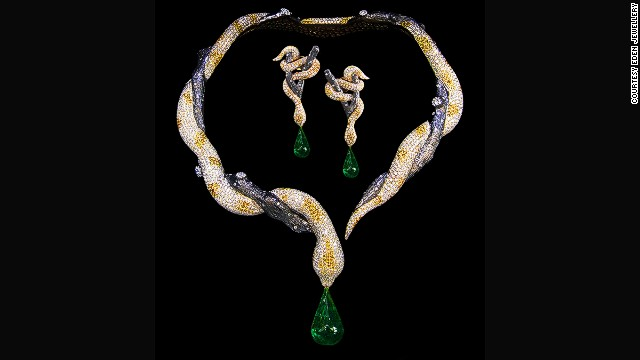 <a href='http://www.edenjeweler.com/' target='_blank'>Eden Jewellery</a> specializes in animal forms of fine jewelry. This snake necklace is made from a 10-carat emerald, two 0.42-carat rubies and 2,522 diamonds totaling 46.41 carats.