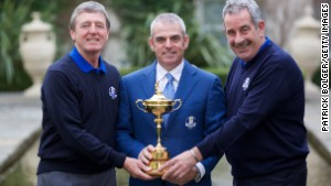 European Ryder Cup captain Paul McGinley is pictured between vice captains Des Smyth (left) and Sam Torrance (right)