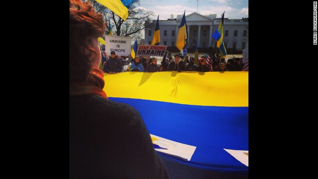 WASHINGTON, DC: Ukrainian demonstrators rally on March 5 outside the White House against the Russian incursion into Crimea. Photo by CNN's Burke Buckhorn. Follow Burke on Instagram at instagram.com/bbuckhorncnn