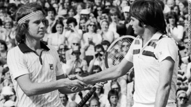 The actual type of handshake has evolved over the years, too. Here's the traditional shake offered up by John McEnroe, left, and Jimmy Connors at Wimbledon in 1977.