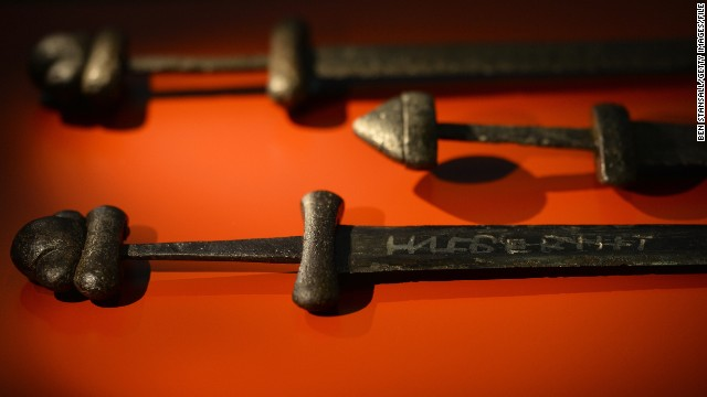 The London exhibition features hundreds of ancient artifacts, including these hefty swords found in Russia which date back to around 1000 AD.