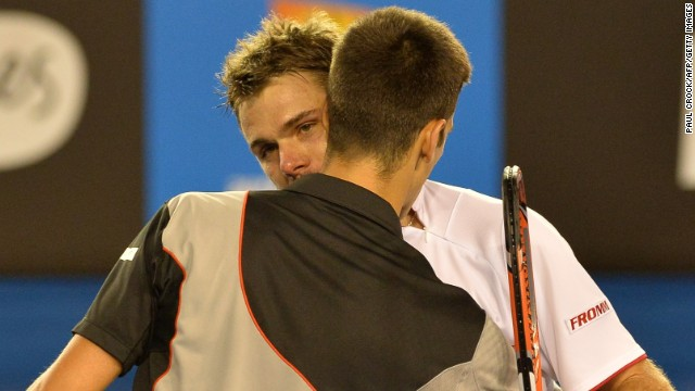 Some players, especially Novak Djokovic, like to hug at the net. He exchanged an embrace with Stanislas Wawrinka, face shown, at this year's Australian Open after he lost. Djokovic once also swapped shirts, a la football, with Ivan Ljubicic.