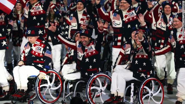 Athletes from the United States enter the stadium.