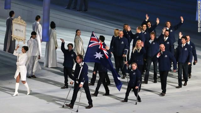 Australia enters the stadium led by skier and flag bearer Cameron Rahles-Rahbula.