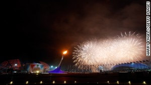 SOCHI, RUSSIA - MARCH 07: Fireworks explode over the Olympic Park at the end of the Opening Ceremony of the Sochi 2014 Paralympic Winter Games at Fisht Olympic Stadium on March 7, 2014 in Sochi, Russia. (Photo by Harry Engels/Getty Images)