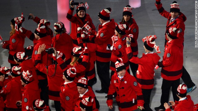 Canada's delegation enters the stadium.