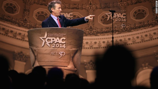 Sen. Rand Paul of Kentucky speaks at CPAC. He has won the group's straw poll before.