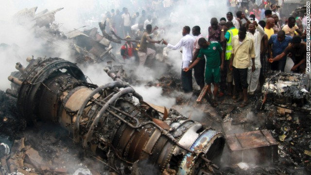 An airliner carrying 153 people crashed on June 3, 2012, in a residential neighborhood in Lagos, Nigeria's most populated city. There were no survivors.