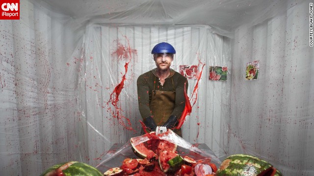 """Dexter"" -- Dexter Morgan, TV's lovable serial killer, is depicted hacking into a juicy watermelon."