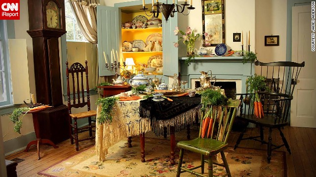 "The setting for the Mad Hatter's tea party was the dining room of photographer James Amerson's friend, Shirley Watson. ""I didn't have to do very much with this set as her home really looks like this,"" he said."