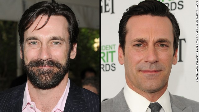 John Hamm appears with a beard in January 2010 and without one this month.