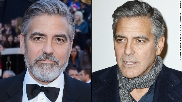 George Clooney sports a beard at this year's Oscars, but is clean-shaven in Paris in February.