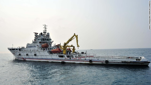 The rescue vessel sets out from Sanya port in the South China Sea.