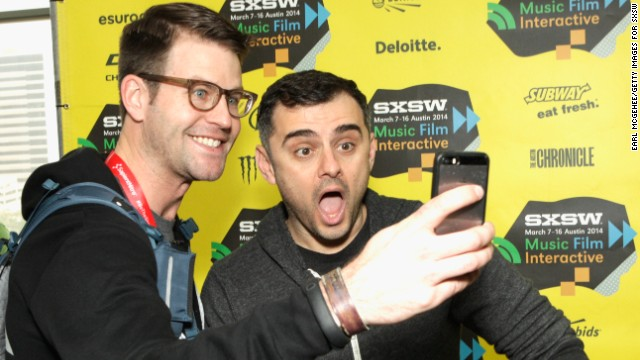"An attendee snaps a selfie with Gary Vaynerchuk, right, as the social media whiz greets guests at ""Gary Vaynerchuk Tells You How to Rock SXSW"" on March 8."