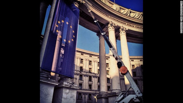 KIEV, UKRAINE: A giant EU flag is hung outside the foreign ministry building in Kiev on March 7. Photo by CNN's Dominique Van Heerden. Follow Dominique on Instagram at instagram.com/dominique_vh.