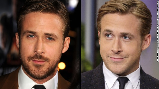 "Ryan Gosling arrives at the 2013 premiere of ""Gangster Squad"" wearing some scruff and is beardless on the Tonight Show in 2011."