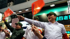 Hong Kongers hold parody Communist rally