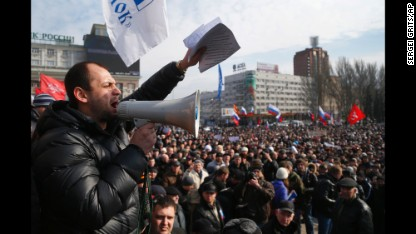People shout slogans during a pro-Russia rally in Donetsk, Ukraine, on Sunday, March 9.