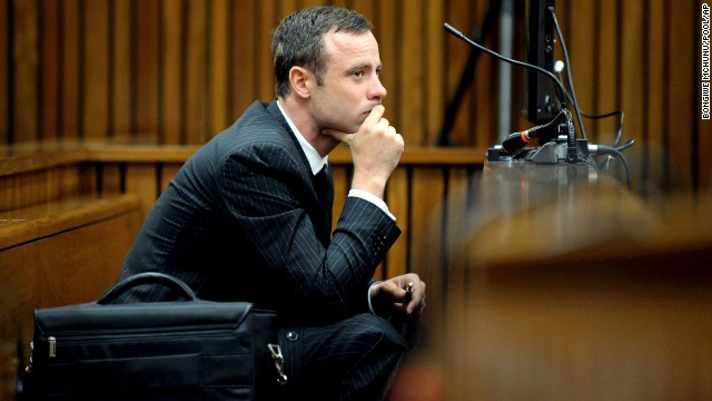 Oscar Pistorius sits in the dock as he listens to cross-questioning during his trial in Pretoria, South Africa, on Monday, March 10. Pistorius, the first amputee to compete in the Olympics, is accused of murdering his girlfriend, Reeva Steenkamp, on February 14, 2013.