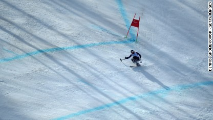 Laurie Stephens of the United States competes in the somen's super-G during the Sochi 2014 Paralympic Winter Games in Sochi, Russia, on Monday, March 10.
