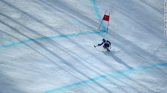 American skier Laurie Stephens competes in the women's super-G on March 10.