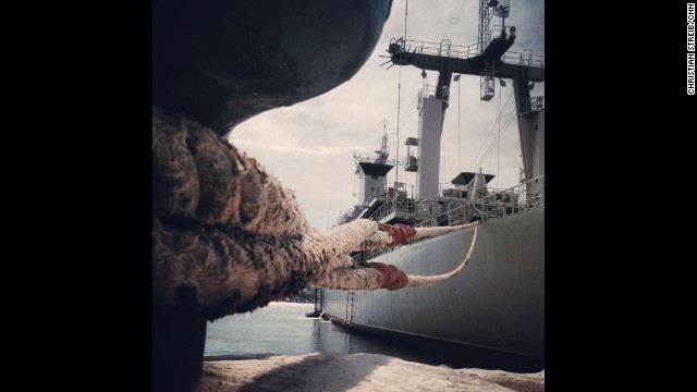 SEVASTOPOL, UKRAINE: The Ukranian Navy vessel Slavutych remains blocked by Russian Navy boats inside the Port of Sevastopol on March 10, photographed by CNN's Christian Streib. Follow Christian on Instagram at instagram.com/christianstreibcnn.