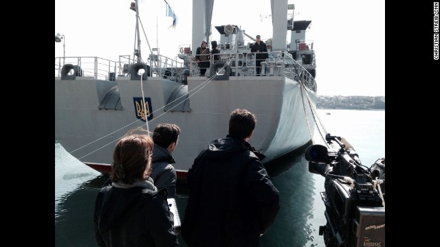 "SEVASTOPOL, UKRAINE: ""CNN's Matthew Chance and team talk to the first officer of the Ukrainian Intelligence Navy ship Slavutych inside the Port of Sevastopol on March 10."" - CNN's Christian Streib. Follow Christian on Instagram at instagram.com/christianstreibcnn."
