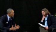 "Zach Galifianakis talks to President Obama on ""Between Two Ferns."" For more, go to funnyordie.com."
