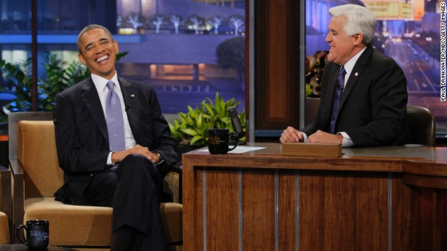 "Obama laughs during an interview with then-""Tonight Show"" host Jay Leno on August 6, 2013. Asked about the appearance, White House spokesman Jay Carney said Obama was ""trying to communicate with Americans where they are."""