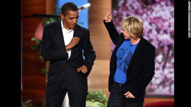 "Then-Sen. Barack Obama dances with Ellen DeGeneres on her show to the song ""Crazy In Love"" in October 2007. ""It's a low bar but I am pretty sure I have better moves than Giuliani,"" Obama joked, referring to the former New York mayor and onetime Republican presidential frontrunner."