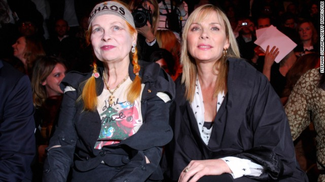 "Westwood scores front row seats at Berlin Fashion Week alongside ""Sex and the City"" actress Kim Cattrall. Westwood designed Sarah Jessica Parker's wedding dress in the 2008 film of the series."