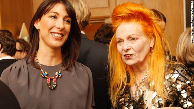 Since helping to forge Britain's punk look in the 1970s, Westwood has become one of the country's most prestigious designers, pictured here with the country's first lady, Samantha Cameron.