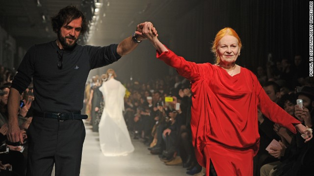 """Buy less, choose well, make it last,"" she told the crowd gathered at London's Southbank arts centre. Here she is pictured with husband Andreas Kronthaler at Paris Fashion Week last year."
