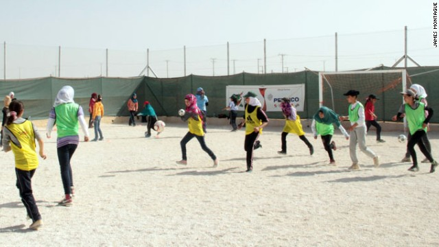 "The majority of people at Zaatari have come from Syria's southern conservative Sunni population. These girls have never played football and the biggest issue in the camp, according to Rantisi, is privacy. ""In the first lecture we say: 'We are national team players. We have come here to talk about sport',' explains Rantisi. ""They ask: 'What do you mean? What is sport?'"""