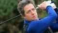 Actor Hugh Grant of Englandon the first tee during a practice round at Kingsbarns for the 2013 Alfred Dunhill Links Championship on September 25, 2013 in Kingsbarns, Scotland. (Photo by David Cannon/Getty Images)