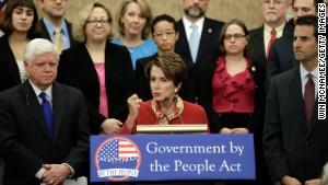 House Minority Leader Nancy Pelosi promotes the finance reform \