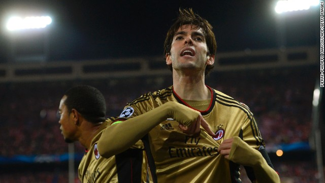 Milan, which has lost its past two league games in Italy, struck back to level on the night through playmaker Kaka. The Brazil midfielder, who once played for Atletico's arch rival, Real Madrid, equalized with 27 minutes on the clock.