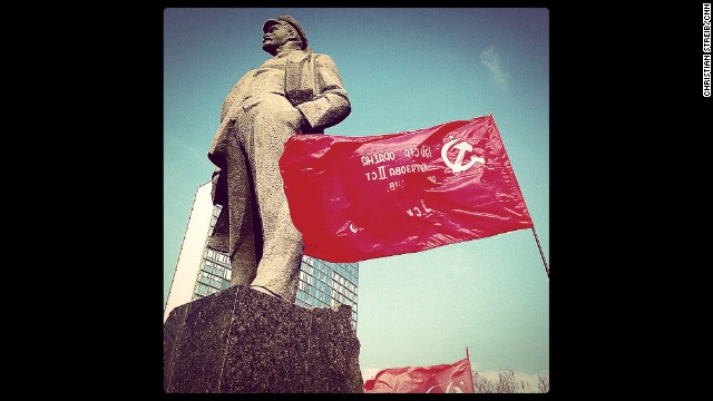 "DONETSK, UKRAINE: ""Dominating the main square named after him: Vladimir Ilyich Ulyanov, also known as Lenin"" - CNN's Christian Streib. Follow Christian on Instagram at instagram.com/christianstreibcnn."