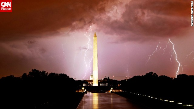 Washington, D.C., looks <a href='http://ireport.cnn.com/docs/DOC-844035'>electrifying</a> as lightning strikes over the Washington Monument.