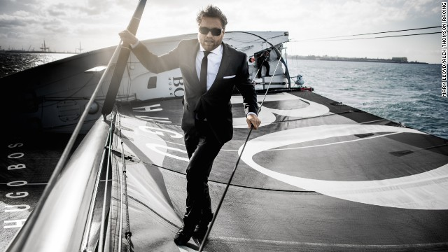 Yachtsman Alex Thomson decided to undertake the stunt of running up the mast of his boat and diving off the top of it into the ocean on a whim.