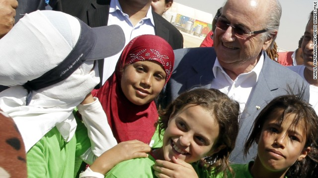 As part of FIFA's visit in July 2013, the world governing body's president Sepp Blatter met with some of the children who play football inside the camp.