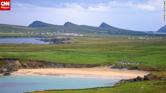 "<strong>County Kerry: </strong>Clogher Beach with ""Three Sisters"" mountains in the background, Dingle Peninsula"