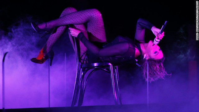 "Beyoncé performs ""Drunk in Love"" at the 56th Annual Grammy Awards in Los Angeles on January 26, 2014."
